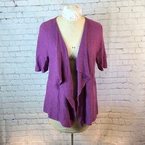 Eileen Fisher grape cardigan w shawl lapel
